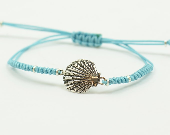 Sterling silver shell conch bracelet.Sea nature earth