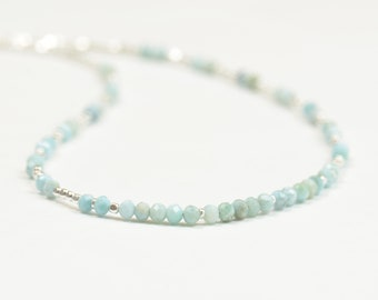 Larimar beads and sterling silver beads necklace