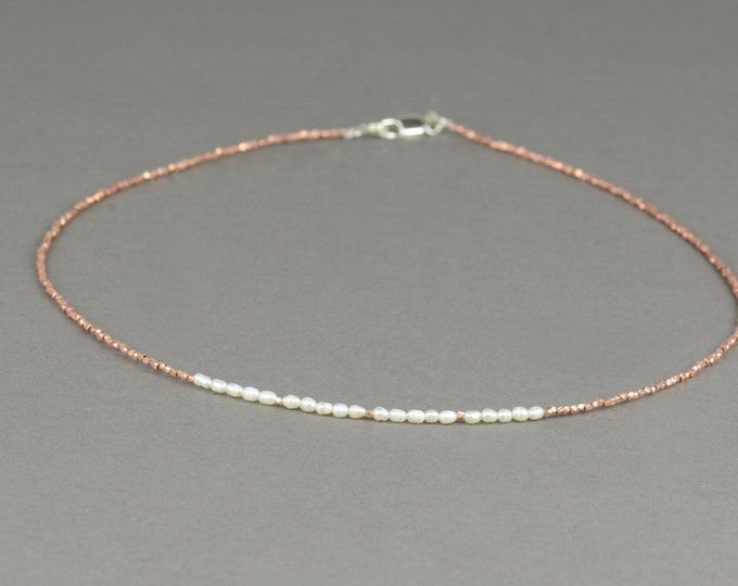 Rose gold Sterling silver and pearls necklace