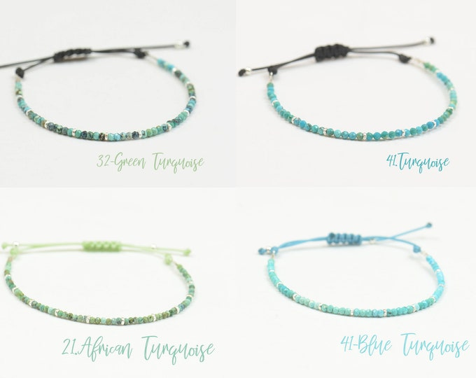Choose your gemstone.Bracelet with custom personalized tiny gemstone ,sterling silver beads and cord.Adjustable knot.Birthstone bracelet.