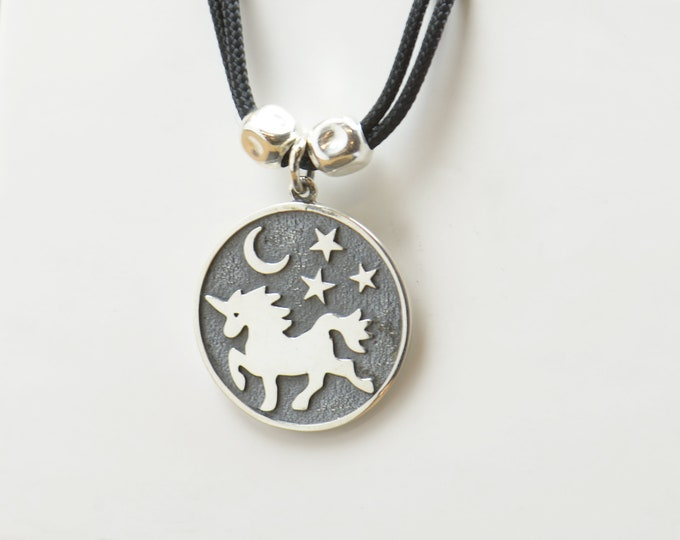 Sterling silver Unicorn Moon Stars charm necklace pendant-Sterling silver.Mens or women.Magic,Fantasy,Universe galaxy planets