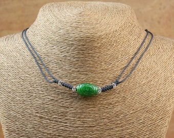 Green Jade necklace.Thread necklace, Friendship necklace ,Friendship necklace ,Cord necklace.Snake Knot.Jade carved piece.Necklace.Mens gift