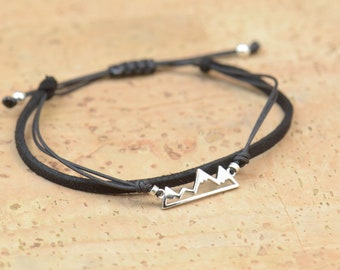 Sterling Silver Mountain charm bracelet. Mens bracelet
