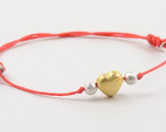 Trapped  heart bracelet-Vermeil and sterling silver