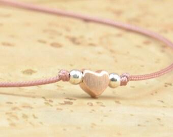 Rose gold or Vermeil gold heart sterling silver tiny bracelet.Delicate bracelet.Gift for her.Couple bracelet