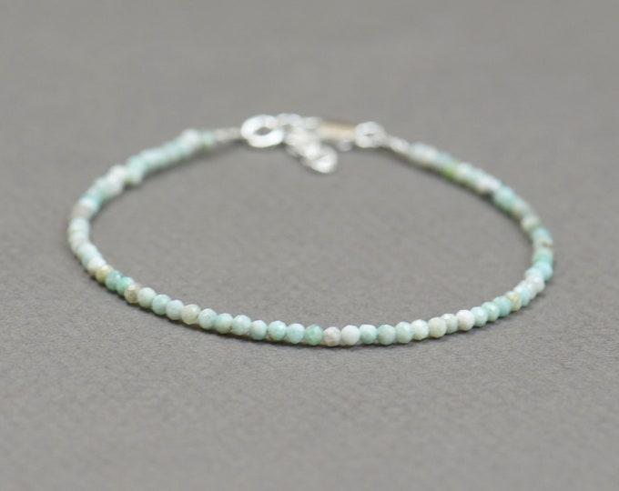Tiny light blue opal bracelet.Dainty bracelet