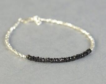Black Tourmaline and sterling silver beads bracelet.Dainty Bracelet
