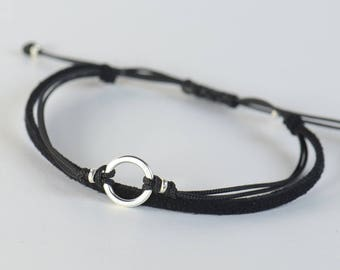 Sterling Silver Karma charm bracelet. Mens bracelet.Good Karma bracelet.Circle of life