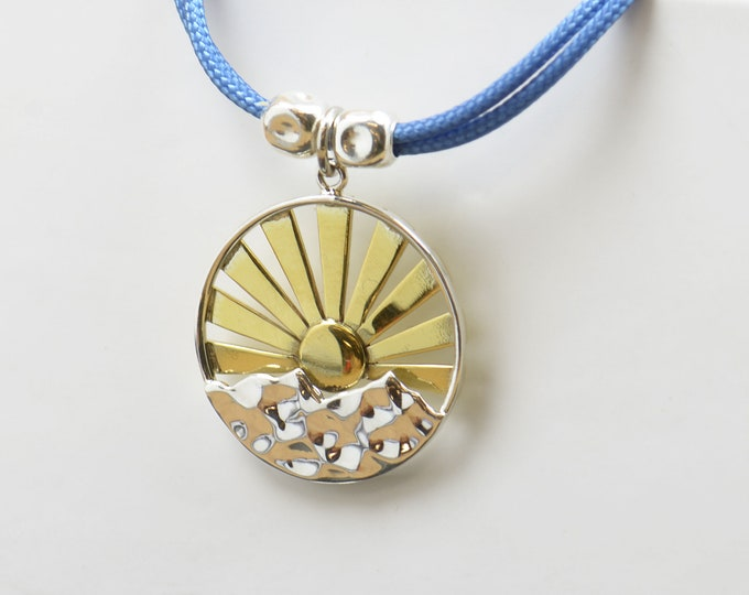Sterling silver sun mountain charm necklace pendant-Sterling silver and gold vermeil.Mens or women.Mountain pendant