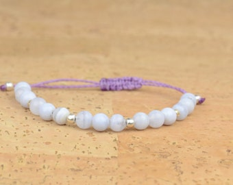 SALE-Chalcedony and sterling silver bracelet