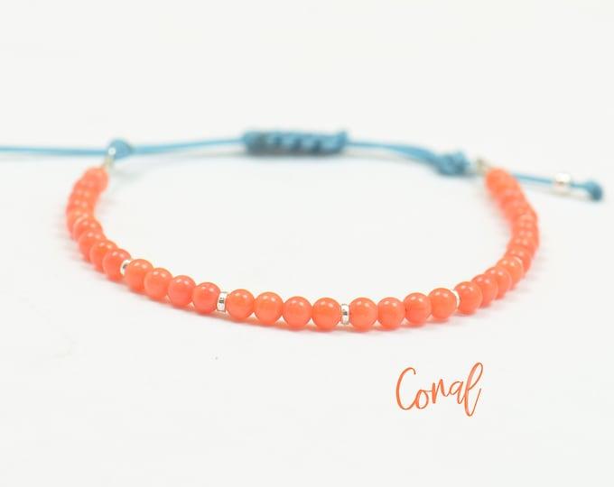 Tangerine Orange Coral and Sterling silver hoops bracelet ,Karma bracelet,Sea bracelet,ocean,coral red orange