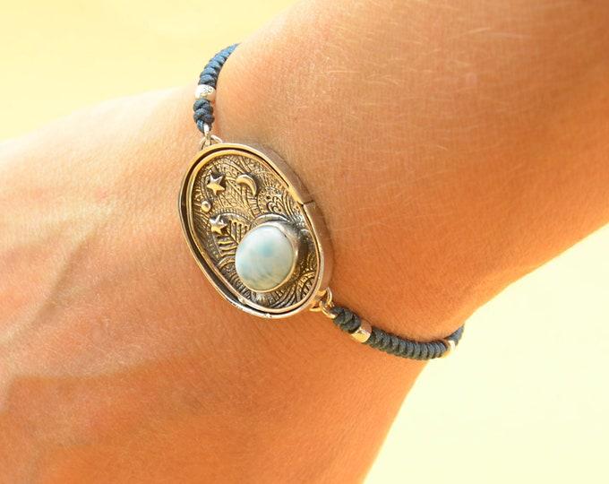Larimar bracelet.Artisan Sterling silver moon stars planets universe.Unique exclusive rustic.Sterling silver bracelet.Blue Gemstone.Handmade