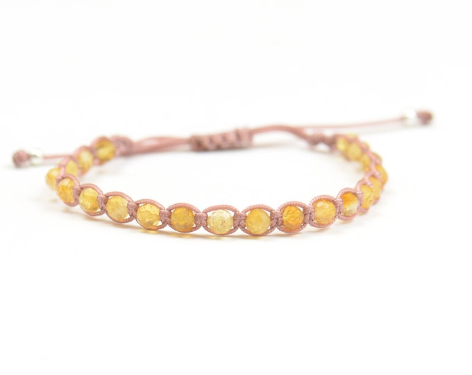 Citrine bracelet.Macrame bracelet