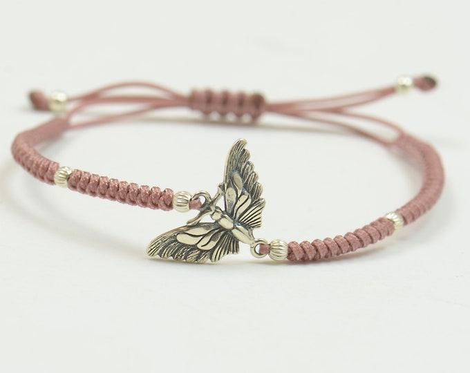 Sterling silver butterfly charm bracelet.Braided cord.Animals.Waterproof bracelet.Nature