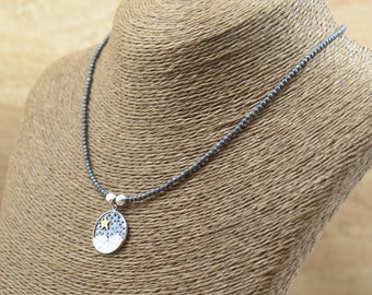 Star night sterling silver pendant with hematite beads