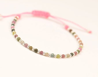 Tiny tourmaline  and sterling silver  beads   bracelet