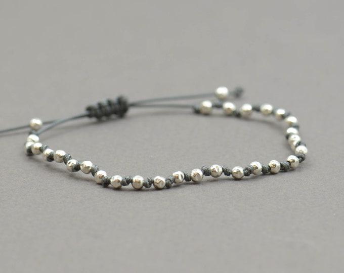 Sterling Silver beaded friendship bracelet.Woven bracelet.Macrame bracelet.Braided Bracelet