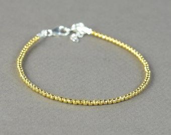 Vermeil Gold Sterling silver beads bracelet.Sterling silver clasp