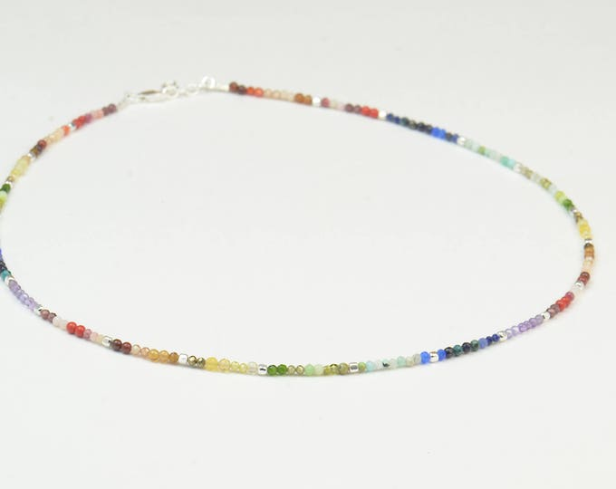 Exoplanets gemstones beads necklace.Planets necklace.Galaxy.7 Chakras necklace.Constellation necklace Rainbow necklace.Zodiac Jewelry