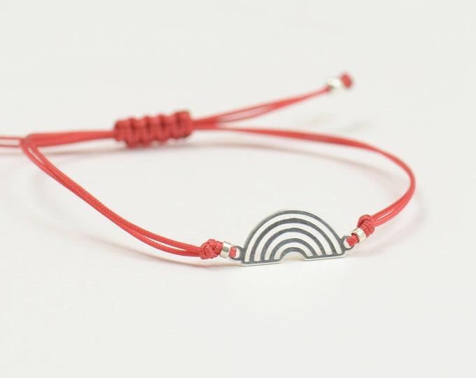 Rainbow charm bracelet-Sterling silver-Woven Bracelet