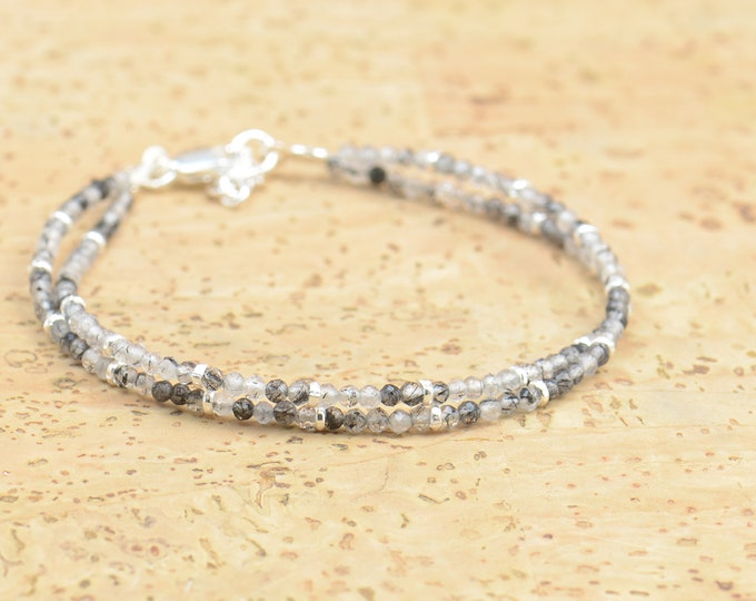 Double strand tourmalinated quartz and sterling silver bracelet.Dainty bracelet.Wrap.Sterling Silver,tourmalinated quartz.Black Turmaline