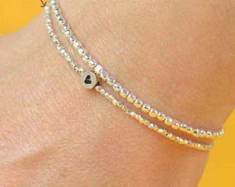 Sterling silver and heart sterling silver charm Bracelet