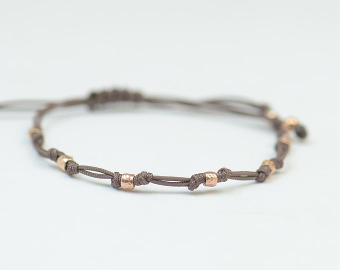 Rose gold silver adjustable bracelet.Silver Rose Thread Bracelet, Friendship Bracelet ,Sterling Silver Rose Friendship Bracelet