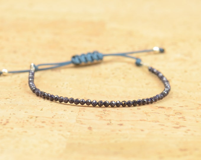 Blue Sunstone.Bracelet with tiny gemstones ,sterling silver beads and cord.Adjustable knot.Birthstone bracelet.
