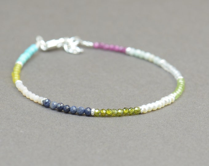 Gemstones and sterling silver beads bracelet.Gemstones bracelet.Ruby peridot pearl shapphire opal turquoise gemstone bracelet.