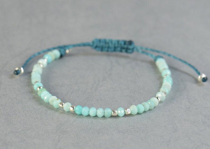 Amazonite and silver bracelet.Silver Thread Bracelet image 0