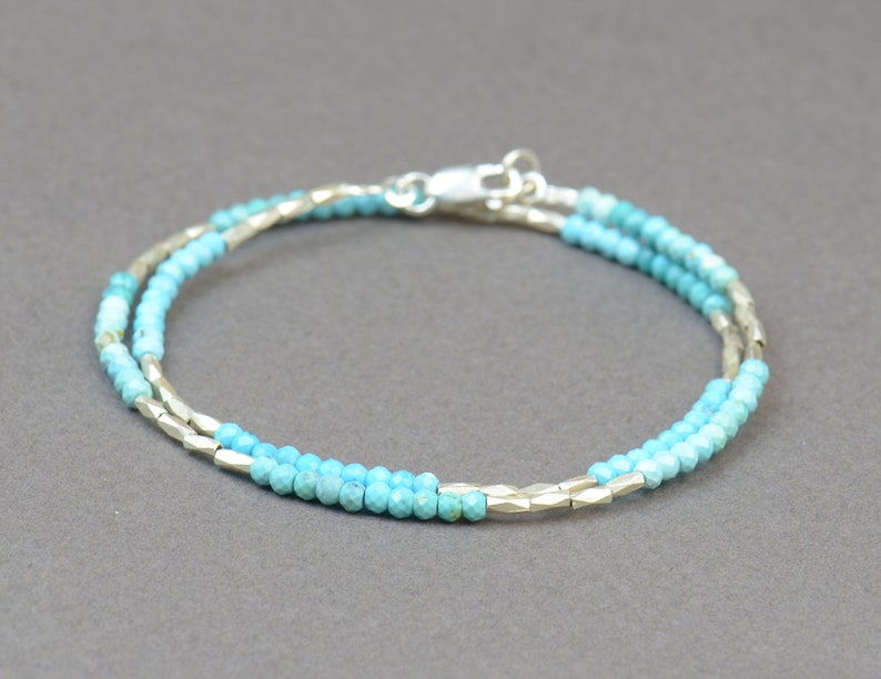 Turquoise and sterling silver beads  bracelet.Double wrap bracelet.Degraded real turquoise