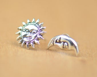 Sun and moon stud tiny earrings-sterling silver-handmade-gift-boho new moon.universe,planets