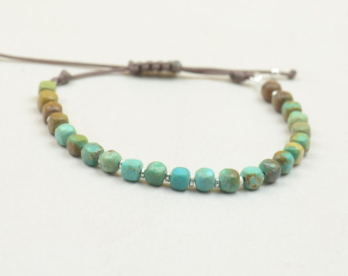 Sterling silver and green brown real turquoise beads bracelet