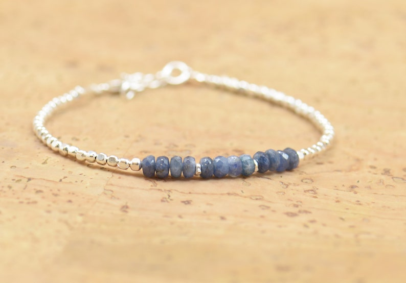 Sapphire and sterling silver beads  bracelet image 0