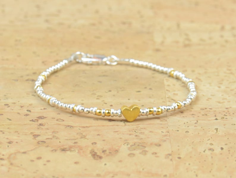 Sterling silver and gold vermeil heart sterling silver charm Bracelet