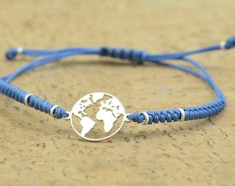 Sterling silver World charm bracelet.Mens or womens bracelet.Sterling silver bead