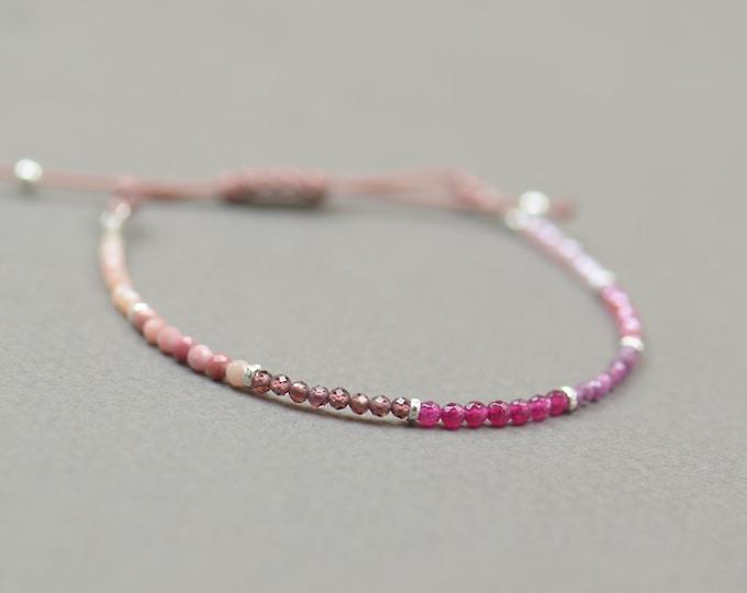 Ruby,garnet,agate,rodonite,opal,pink moonstone bracelet.Sterling silver bracelet.Red pink gemstones