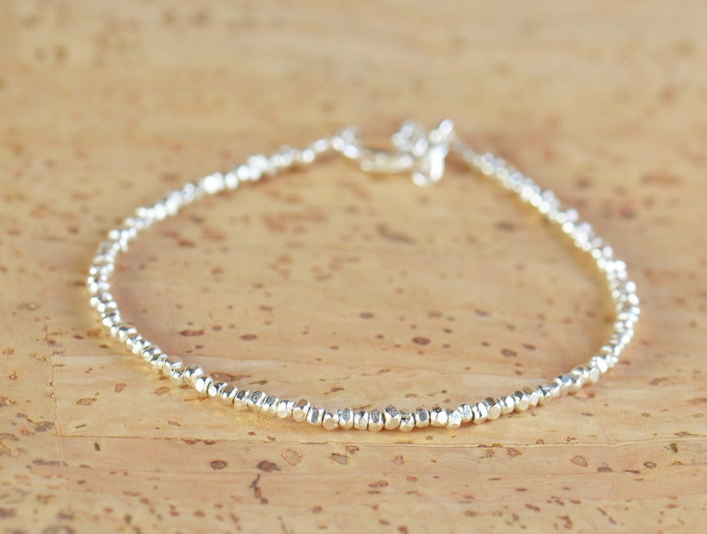 Sterling silver nuggets beads  bracelet.Sterling silver clasp image 0