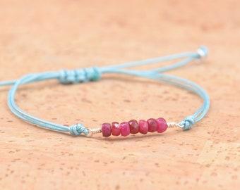 Gemstones and thread bracelet.Sterling silver wire.Gemstones,thread,cord adjustable bracelet.London Blue topaz,moonstone,black tourmaline