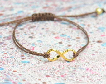 Sterling Silver Vermeil  Karma Infinity bracelet . friendship