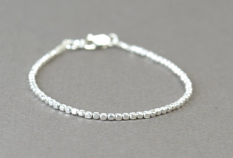 Square sterling silver beads  bracelet image 0