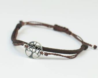 Sterling Silver tree of life charm bracelet. Mens bracelet.Good Karma bracelet.Circle of life