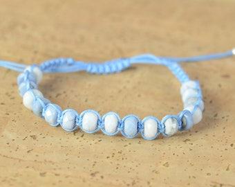 Blue Opal  bracelet.Macrame bracelet