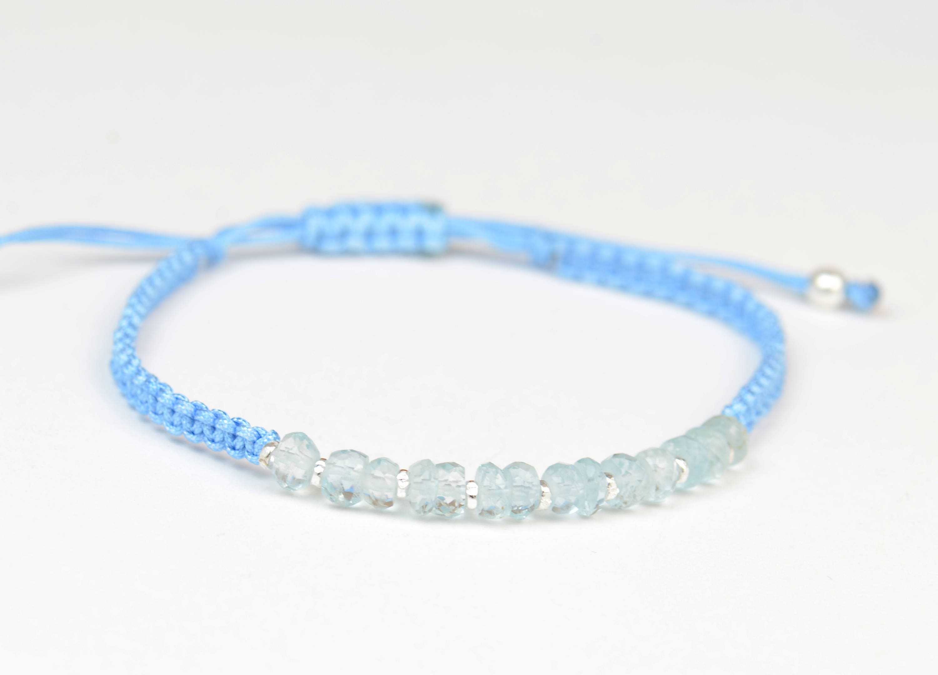 Light Blue Woven Braided Thread Silver Beaded Macrame Friendship Bracelet