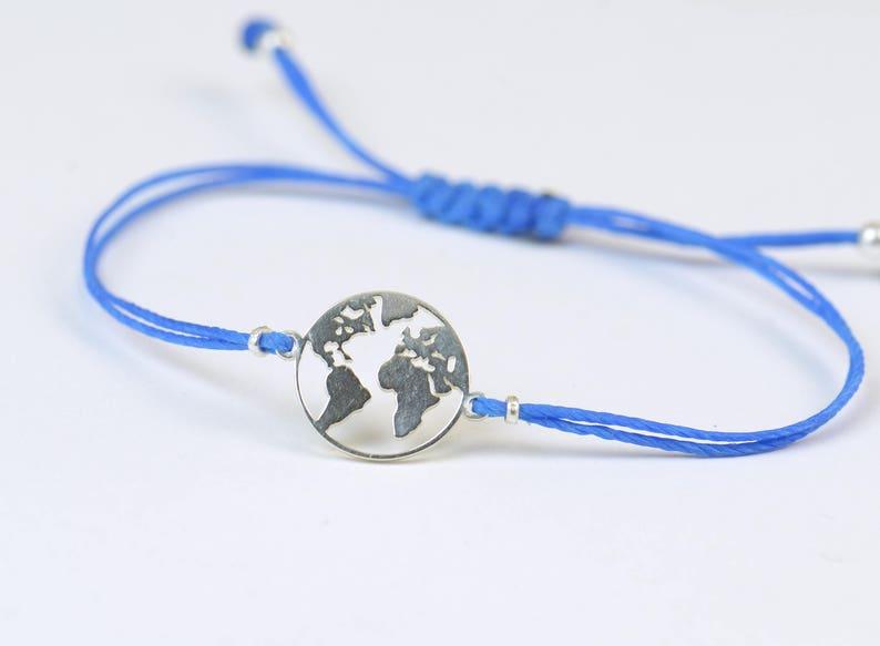 Sterling silver World charm bracelet.Mens or womens image 0