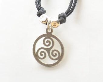 Sterling silver Triskel charm necklace pendant-Sterling silver.Mens or women.Celtic pendant necklace.Triskele Trisquele
