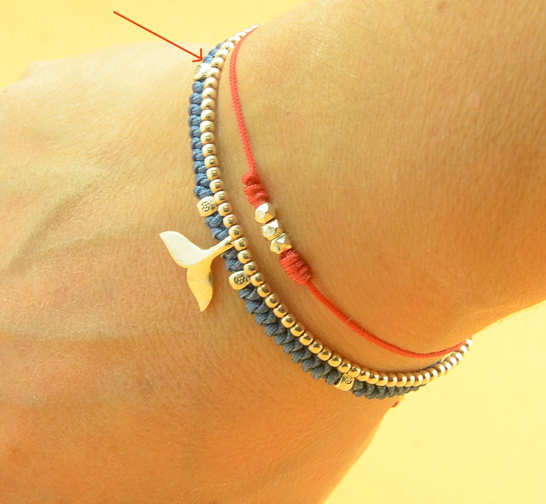 Sterling silver whale tail bracelet image 0