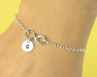 Personalized Infinity Bracelet, Initial bracelet, Sterling silver bracelet, custom letter,friendship , Best friends forever