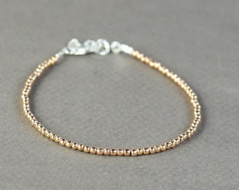Rose Gold Sterling silver beads bracelet.Sterling silver clasp