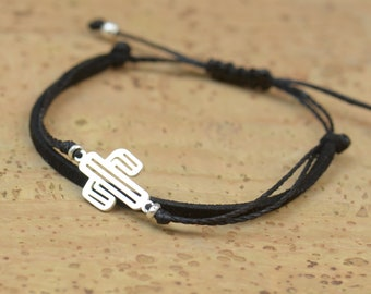 Sterling Silver cactus charm bracelet. Mens bracelet.Suede and cord